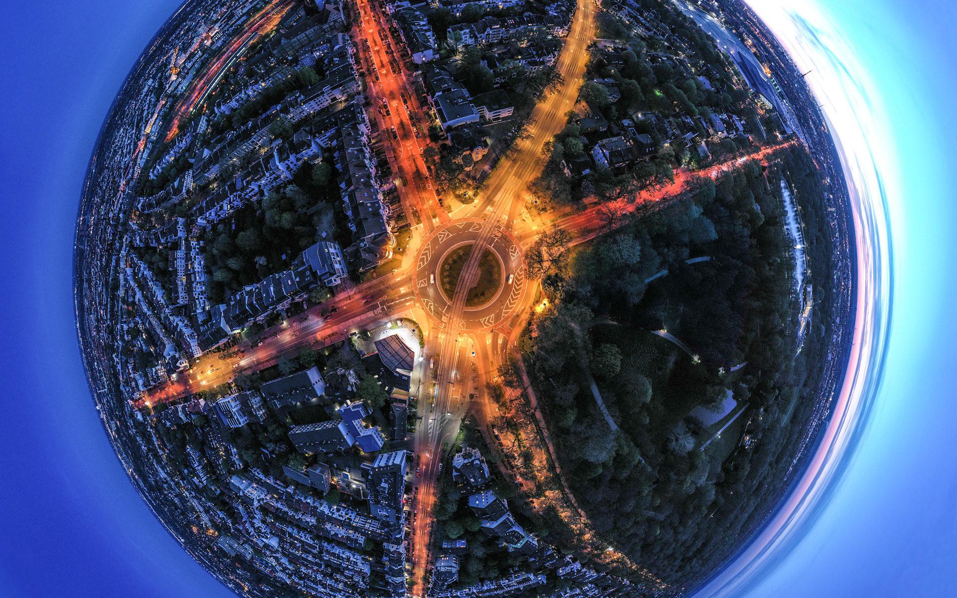 Luftaufnahme des Bremer Sterns bei Nacht