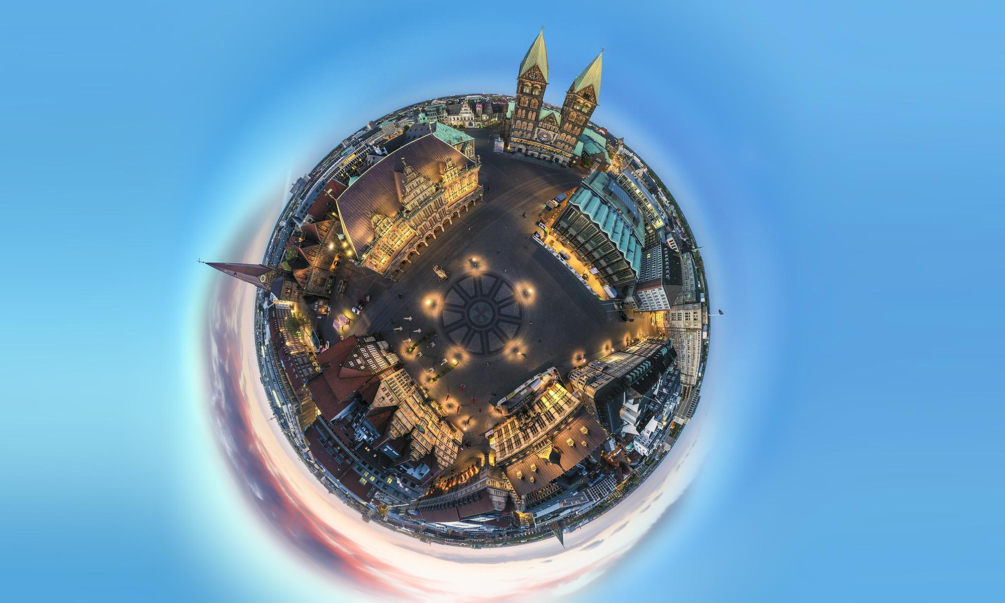 Twilight Luftaufnahme Welt Kugel